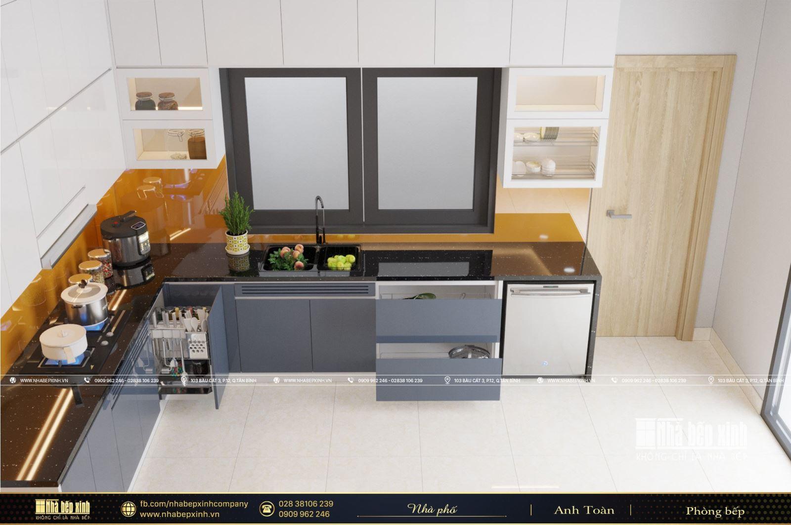 Tủ bếp hiện đại kết hợp bàn đảo