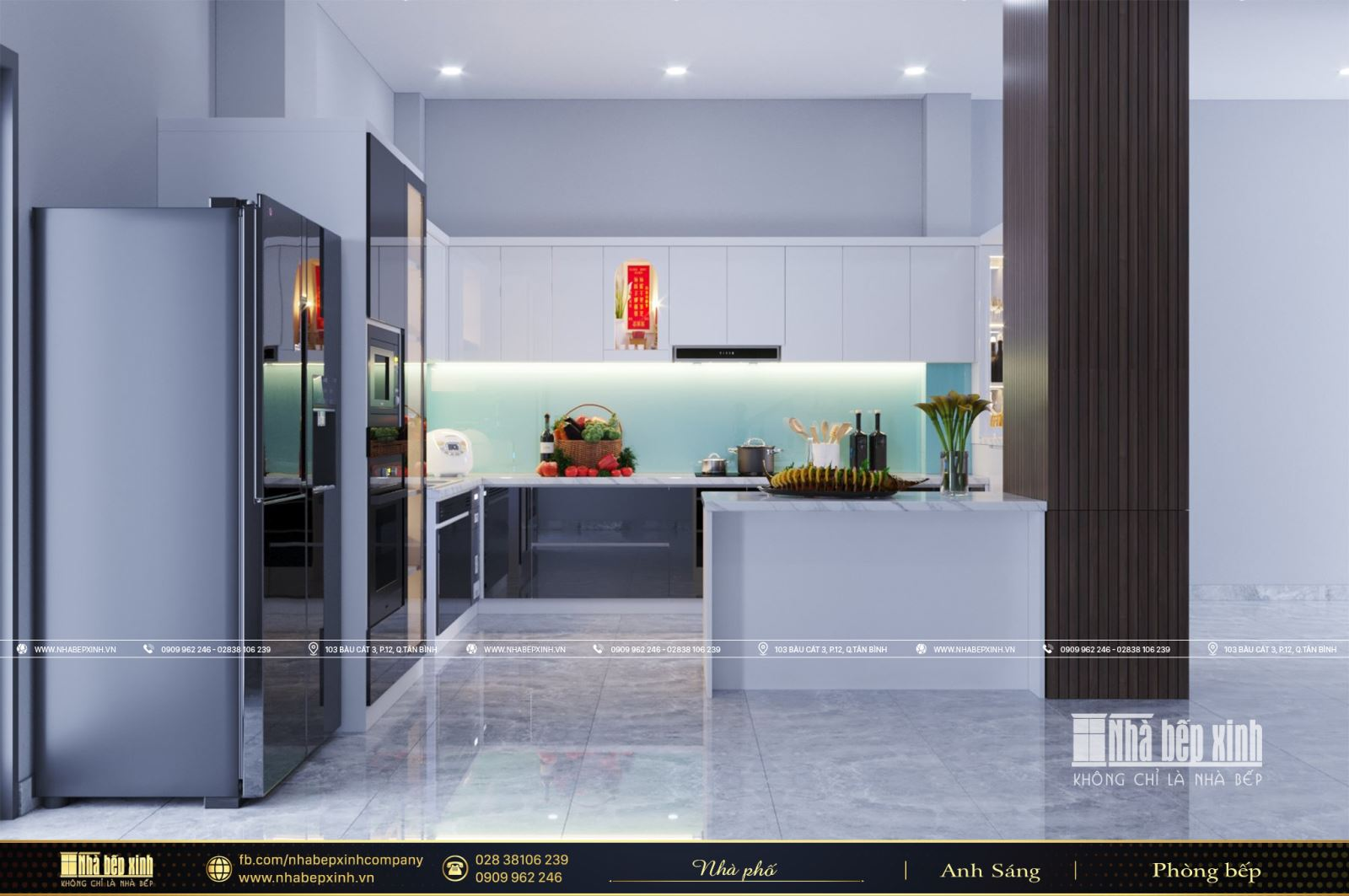 Tủ bếp kết hợp quầy bar và bàn đảo
