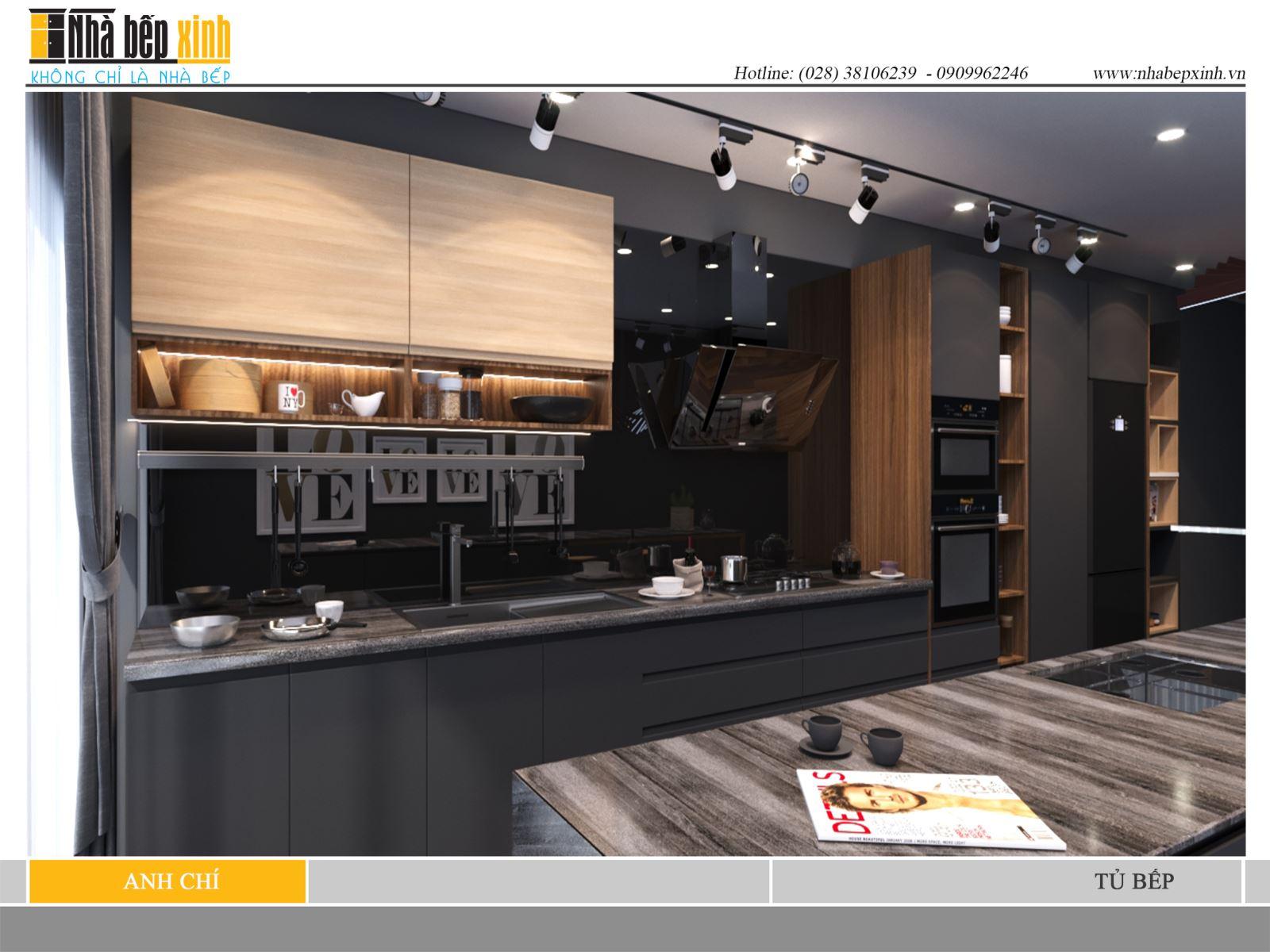 Tủ bếp chữ I hiện đại và sang trọng, thanh lịch cho phòng bếp