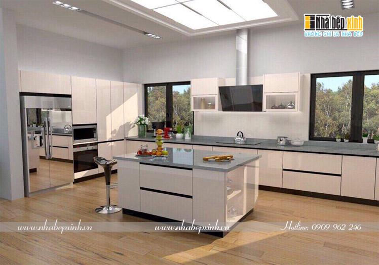 tủ bếp gỗ chữ L có bếp đảo aq17