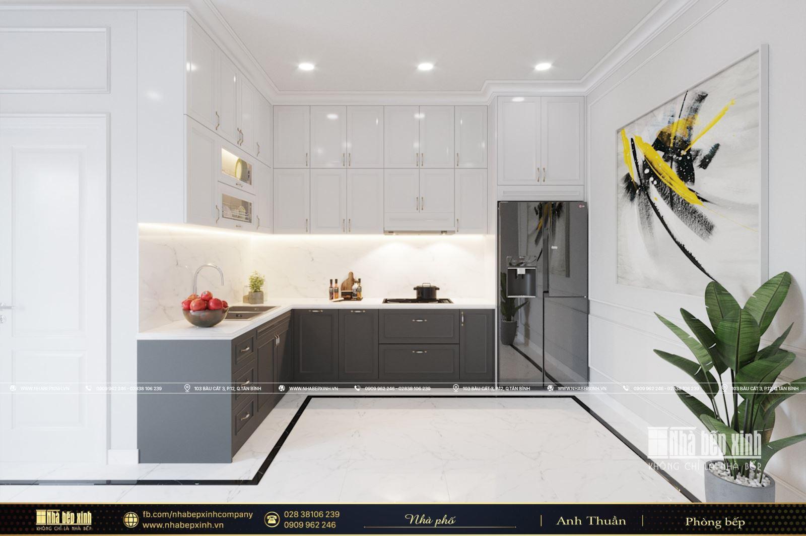 Tủ bếp tân cổ điển sang trọng - Nội thất Nhà Bếp Xinh
