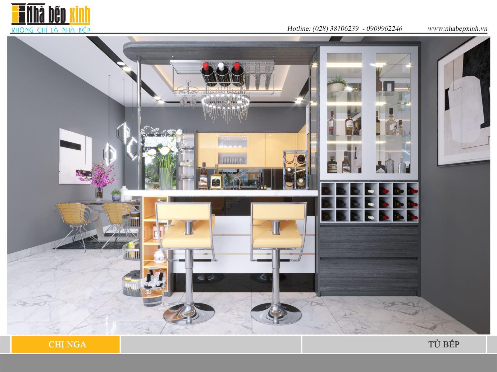 Tủ bếp gỗ Acrylic hiện đại và sang trọng cho nhà bếp