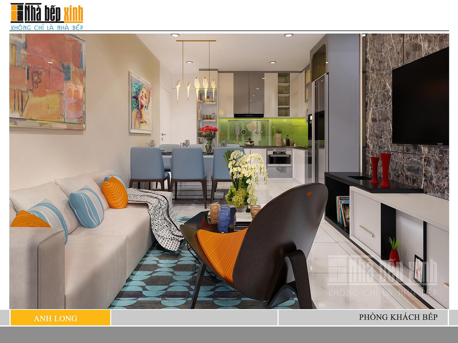 Phòng khách đẹp sang trọng tông màu tươi sáng - năm 2018